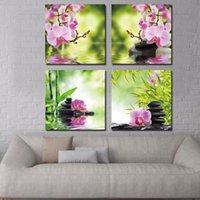 Pinturas arte pintura botânica verde feng shui orquídea óleo no painel de cristal de quartzo abstrato imagem decoração home