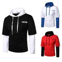 Sleeve Crew Neck Mens Hooded Sweatshirts Pullover Males Casual Hoodies Contrast Color Mens Designer Hoodies Long