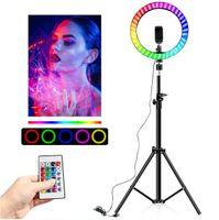 Telefon Tutucu 10 inç RGB Video Işığı Dim LED Selfie'nin Yumuşak Halka Işık USB halka lamba Işık Makyaj Youtube için durmak üçayak