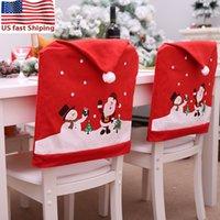 Enviar desde cubierta de la silla de EE.UU. 10Pcs 2020 Top Decoración de Navidad de Santa Claus Cocina Silla Tabla Covers Casa Decoración Casa De Chaise