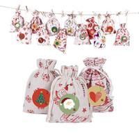 Em estoque! 2020 Árvore de Natal Ornamento do presente sacos de lona Organic Saco de Santa Saco Saco reutilizável Com Elk Saco de Papai Noel Bolsas para crianças