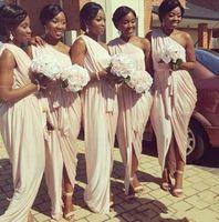 Afrika Amerikan Gelinlik Modelleri Bir Omuz Şeftali Pembe Mermaid Uzun Örgün Düğün Misafir Elbiseleri Kadınlar için Sash 2020 Yeni Custom123