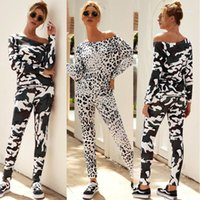 Tracksuits Fashion Animal Pattern Off Shoulder Two Piece Pants Casual Womens Spring Clothes Camouflage Women Designer