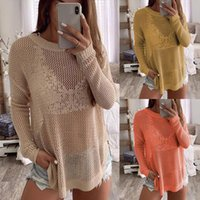 Long Sleeves Hollow Out knitting Sweater Womens Tops Autumn ...
