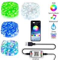 5 M 10 m 20 m 100 leds 150 leds 200Leds USB Peri Dize Işıklar Müzik Sync Renk RGB LED Şerit Bluetooth Uygulama Kontrol Bakır Tel Dizeleri