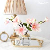 Simulazione fiore di simulazione Tre testa Magnolia fiori di alta fine fiore di seta muro cerimonia nuziale del fiore decorazione della casa artificiale bouquet