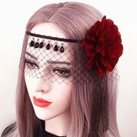 Лолита принцесса Готическая Очаровательная Черное кружево Красная роза Таинственная маска Sexy Королева Вуаль головной убор на Рождество Halloween Party