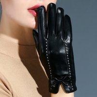Beş Parmaklar Eldiven Modu Dokunmatik Ekran Deri Kadın Koyun Kış Termal Kırmızı Tam Parmak Siyah Sürüş El