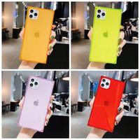 Fluorescente Praça Solid Color telefone capa para iPhone 11 Pro Max XR X XS Max 7 8 6 SE caso Plus Limpar tampa traseira à prova de choque macio