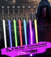 2in1 Luninöse Lichtschützer Bunte LED Sword Weapons Requisiten Cosplay Bar Party Wars Blinkende Lightstick Simulierte Sound Light Säbel Spielzeug