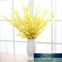 Yellow Orchid Flowers Artificial Falso Dança Lady Flower Silk Orchid Início Wedding Decoração haste longa com pétala da flor da tabela Centerpieces
