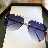Nouvelles tendances de la mode unisexe Shades été dégradé Violet Rose Lunettes de soleil Femmes 2020 Luxe Rimless Pilot Lunettes UV400