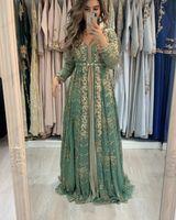 2021 Dark Sage Arabisch Marokkanischer Kaftan-Prom Kleider Eine Linie Applique Gold Spitze Perlen Muslim Langarm Abendkleider Gowns Prom Party Kleid