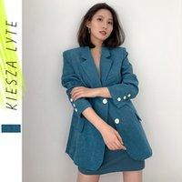 Frauenanzüge Blazers Britische Stil Blazer Frau Frühling Herbst 2021 Chic Casual Blue Französische Weibchenanzugjacke