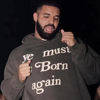 원래 패션 브랜드 유럽과 미국 스타일의 힙합 카니 카니 편지 쓰기 폼 인쇄 풀오버 후드 스웨터 까마귀
