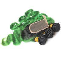 Trama dei capelli del corpo del corpo del corpo del colore del colore dell'ombre verde del 1b peruviano con le estensioni di chiusura in vendita