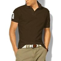 Горячая продажа Мужчины Классических рубашек поло Большой лошадь вышивка хлопок с коротким рукавом Летнего Slim Fit футболка Твердого Streetwear Casual Male Polos Brown