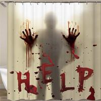 Halloween rideau de douche Liner fenêtre Rideaux pour les mains sanglantes Décorations d'Halloween salle de bains Décor 71 pouces JK2009XB