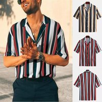 2020 Mann-Sommer-Mode-Hemd-beiläufige gestreifte Shirts Kurzarm Top Bluse S-3XL Casual Male Dress Shirt Camisa Masculina