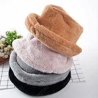 الشتاء الفراء سميكة الدافئة دلو قبعة للنساء فتاة الصلبة المخملية الصياد قبعة بنما فيدورا السيدات الأزياء في الهواء الطلق السفر بوب