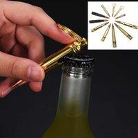 Alliage de zinc Chaîne de la bouteille de bière ouvre-bouteille Creative Bullet Shape Tarkscrew Keychain Bouteilles Ouverture Tag Personnaliser Laser Personnaliser
