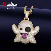 Geist-Halsketten-Anhänger mit 4mm Tennis Kette Gold Farbe Bling KubikZircon Männer Hip Hop-Schmucksachen für Geschenk MX200810