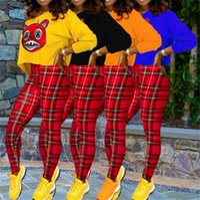 Kadınlar Giyim Tasarımcı Baskılı Uzun Kollu Yuvarlak Yaka Kapüşonlular Kazak Üst Kırmızı Ekose Pantolon Tayt Spor takım elbise 2 Adet Kıyafetler Satış LY9122