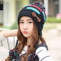 Mütze / Schädelkappen Winterhut weiblich plus pelziger koreanischer Herbst und Ball warme ohr schützende gestrickte hüte