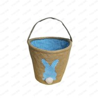 Fashion Hot Cute Gift Tote Easter Jute Basket Fluffy Rabbit Tail Portable Basket Party Favor Free Shipping