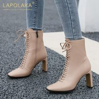 Lapolaka 2020 Fashion New Concise Elegant Boots Woman Shoes Zip Up Strange Style High Heels cross0-tied Ankle Boots Ladies