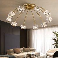 Lüks pirinç cila yaşam kristal avizeler led tavan lambası yatak odası bakır mutfak armatürü minimalist aydınlatma kristal gölge