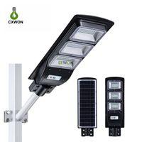 Lâmpada de rua solar integrada 30W 60w 90w Sensor de movimento de radar ao ar livre Timing de iluminação + controle remoto ip67 luzes impermeáveis da parede do jardim para a jarda da plaza