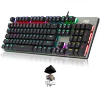 Klavyeler 104 Tuşlar Oyun Mekanik Evrensel Masaüstü Için USB RGB Arka Işık Anti Ghosting Kablolu Klavye Ergonomik Ev Ofis Metal