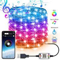 USB Peri Işıklar Müzik Sync Renk RGB LED Şerit Bluetooth APP Kontrol Bakır Tel Strings yılbaşı partisi düğün Dış Dekorasyon