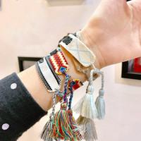 Pulsera de letra del encanto Braidada pulsera telescópica de alta calidad de la correa de la mano de la materia textil para los pares de suministro popular de la pulsera