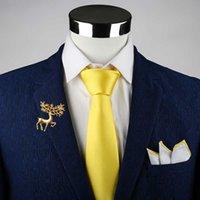 Yay Ties Varış Klasik Erkek Kravat İpek Resmi Kravat Krawatten Herren Katı Altın Kırmızı Sarı Adam Iş Düğün Hediyesi Parti Için