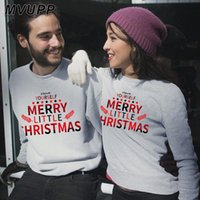 MVUPP مرح عيد الميلاد طباعة الأسرة مطابقة البلوزات بابا أمي زوجين الملابس القطن الدافئ الشتاء الكرتون البلوز جميل
