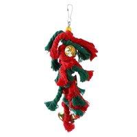 Другие поставки птиц Pet Birds Parrot игрушки для какату Paroket качели хлопок альпинистые сучки с рождественскими колоколами висит высокое качество игрушки