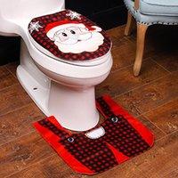 acessórios do banheiro 2PC dos desenhos animados Jogo do Natal Decor Santa vermelha ClausToilet Seat Cover Tanque Set decoração do banheiro salle de bain