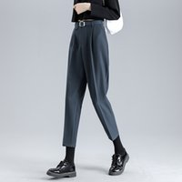 Pantalones para mujer Capris Black Casual Traje Femenino Mujer Alta Cintura MUJER PLUS GRANDE DE TAMAÑO grande para la ropa 2021 PANTALLA D0175