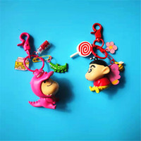 키 체인 크레용 신 찬 애니메이션 PVC 그림 열쇠 고리 귀여운 장난감 열쇠 고리 생일 선물 유니섹스 반지