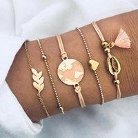 DIEZI Bohemia 2020 pulseras del encanto del corazón de Shell Mapa brazaletes para las mujeres brazaletes de color rosa borla Establece regalos de la joyería de la nueva vendimia