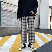 Pantalons simple Hommes Sports Plus Taille Checkerboard Sweatpants japonais Streetwear Plaid Pantalon homme droit Baggy Hip Hop 2020