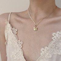 Anhänger Halsketten KPOP NATURAL PEARL CLAVIKLE Kette Halskette für Frau Freunde Mode Schmetterling Schmuck Ästhetische Accessorie