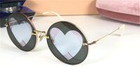 새로운 패션 디자인 선글라스 SMU 09R 라운드 금속 프레임 독특한 하트 모양의 렌즈 아방가르드 모양 UV400 보호 안경