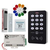 Fingerabdruck-Zugangskontrolle RFID-System-Kit-Rahmen-Glastür-Set + elektrisch 180kg Magnetverriegelung + 10 Keytab + Netzteil + EXIT-Taste-A1