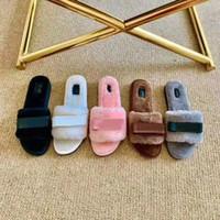 Designer sandales de glissière de laine de fourrure femmes Flats Mulets Flip Winter Flops d'or chaussures de mode haut chaud 15 couleurs avec la boîte 35-42
