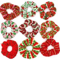 Girls Woolen Knitting Scrunchies Women Christmas Hair Band Xmas Red Green Striped Scrunchy Elastic Hair Rope Ponytail Hair Tie Holder D91707