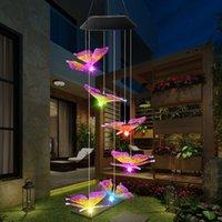 LED Solar Wind Chime borboleta Luz Estilo impermeável ao ar livre Jardim Garland luzes de suspensão do Natal do feriado Solar Lamp Decor