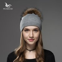 Mosnow Hat Female Women Raccoon Wool Fur Pom Poms Warm Knitt...